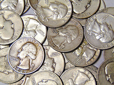 Roll of 40 Washington Silver Quarters $10 Face Value 90% Silver 1940s-1964