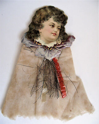 "Antique COTTON Scrap Tinsel 7"" GIRL BABY Die-Cut CHRISTMAS Tree ORNAMENT germany"