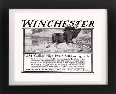"""1972 Vintage HUNTING /""""SUCCESS 1894/"""" BEAR WINCHESTER LONG GUNS Color Lithograph"""