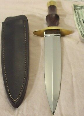 "vtg~CAMPBELL~82~CUSTOM HANDMADE 13"" DAGGER KNIFE~EXOTIC HARDWOOD w/ORIG. SHEATH~"