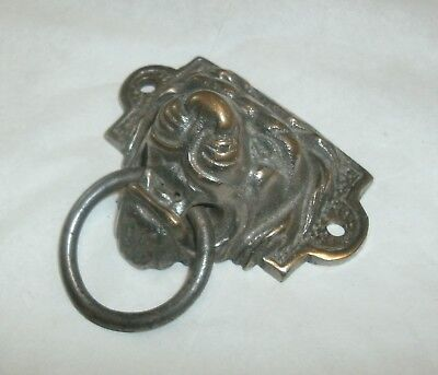 Vintage Cast Metal And Brass Lion Head Drawer Pull, Screw Ears On Sides