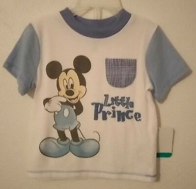"NWT Infant Baby Boys Mickey Mouse T-Shirt 3-6 Months Disney ""Little Prince"""
