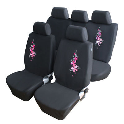 9PCS Full Set Pink Flower Embroidery Car Covers Interior Protector Front + Rear