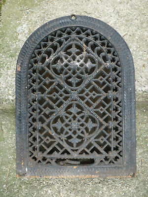 Antique Cast Iron Arch Heating Grate Raised Cross Vines Design Tombstone 14 x 10