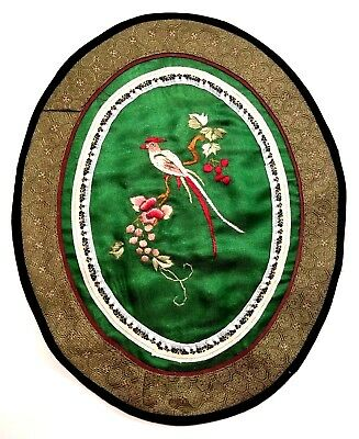 Embroidery Asian Bird Floral Tapestry Handmade Vintage