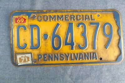 Vintage 1969 1971 Pennsylvania License Plate COMMERCIAL CD 64379 Preowned PA