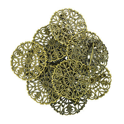 10x Filigree Flower Blank Brooch Setting Lapel Pin Safety Pins Base Bronze
