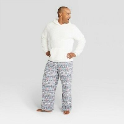 NEW Men s Holiday Fuzzy Bear Fair Isle Pajama Set - Wondershop White L 93cf988b6