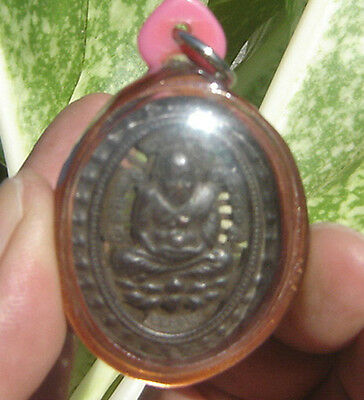 "Locket Tablet Stencil bronze monk"" Lung por Tud""Wat Changhai Temple Amulet"