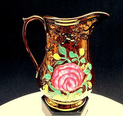 "English Copper Lustreware Hand Painted Floral Leaf Relief 6 1/2"" Pitcher"
