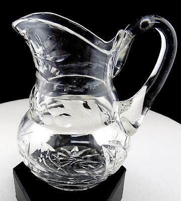"Brilliant Cut Crystal Flower And Thumbprint Applied Handle 5"" Cream Pitcher"