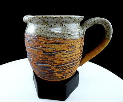 "Ka Signed Speckled Incised / Carved Stoneware 4 3/8"" Cream Pitcher"