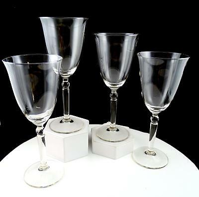 """Crystal Clear 4 Piece Ball Stem Flared Rim 8 1/8"""" Water Goblets"""