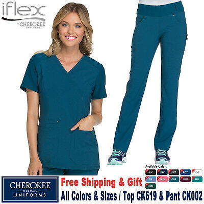Cherokee Scrubs Satz Iflex Uniform Strick Panel Top & Mid-Rise Hose