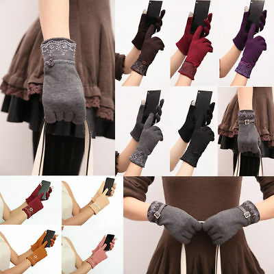 Women Winter Brushed Wool Lace Knit Velvet Warm Touch Screen Gloves Mittens