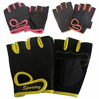 New Ladies Padded Cycling Gloves Fingerless Bike Weight Workout Mitts for Women