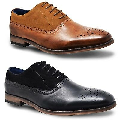 Mens New Brown Black Leather Designer Fashion Casual Smart Office Dress Shoes