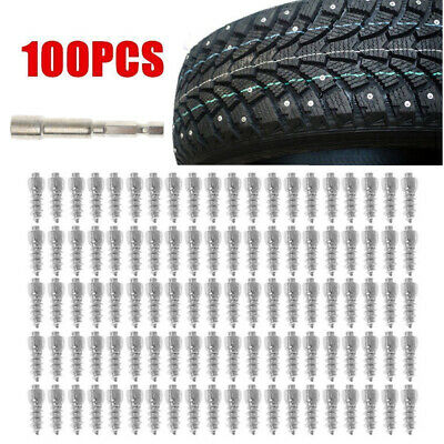 100 Pcs Pack 12mm Car Anti-Slip Screw Snow Stud Tire Spikes + Installation Tool