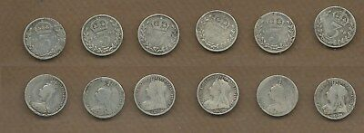 1887-1901 Great Britain silver Victoria 3 pence lot of 6