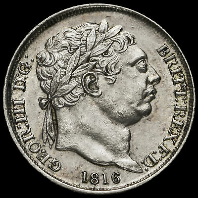 1816 George III Milled Silver Sixpence, A/UNC #2