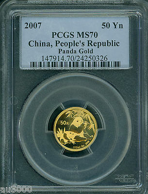 2007 PANDA GOLD COIN 50Y 1/10 Oz. CHINA PCGS 50Yn 50-Y 50 Yuan MS70