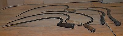 6 antique hand scythe blacksmith forged primitive wheat grain collectible tool