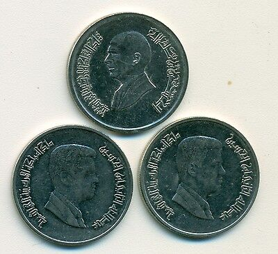 3 DIFFERENT 5 PIASTRE COINS from JORDAN (1996, 2008 & 2009)