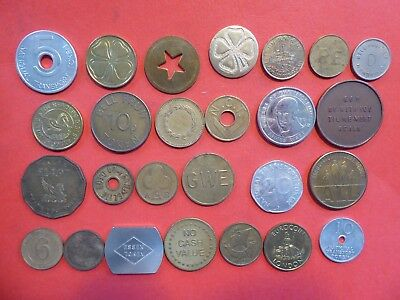 collection of 26 DIFFERENT ENGLISH TOKENS - mostly 20th century - ALL DIFFERENT