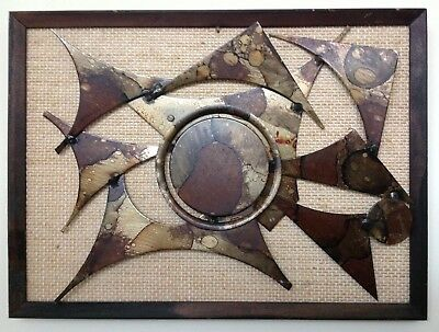 Vintage Mid Century Brutalist Metal Abstract Wall Art Henrik Horst Danish 70s