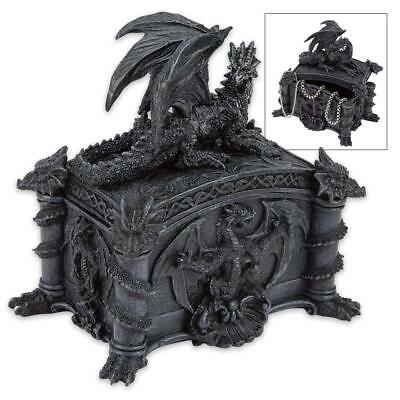 Reclining Dragon Guard Gothic Trinket Box - High Quality Crafted Resin - NEW!
