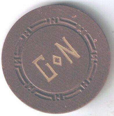 Golden Nugget Hotel Casino Brown Roulette Chip G<>N 1953 Las Vegas Nevada