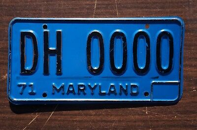 Unusual 1971 Maryland License Plate # DH 0000