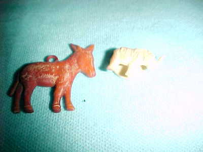 VTG LOT OF 2 DEMOCRATIC DONKEY CHARM REPUBLICAN ELEPHANT Political Party