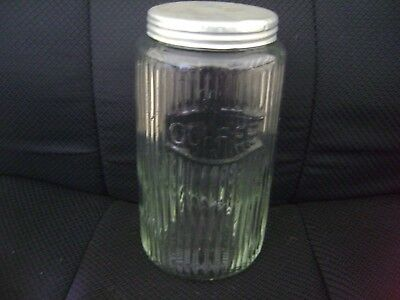 Vintage Ribbed Glass Coffee Jar  With  An Aluminum Lid