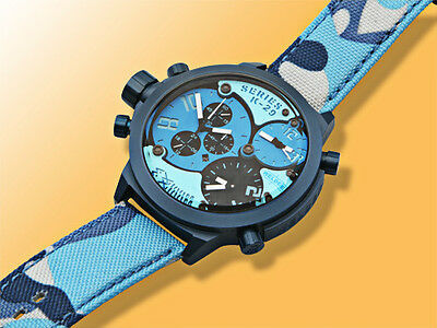 Welder K29-8006 Triple Time Zone Chronograph Blue Men's Sport Watch MSRP: $1,210