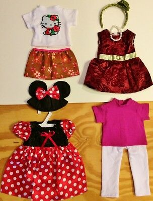 "Doll Clothes LOT Fits 18"" American Girl 4 Outfits #33 C  Minnie Mouse Tops Pants"