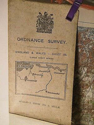South London,croydon,sevenoaks:kent: Antique Map 1901-12:old Ordnance On Linen