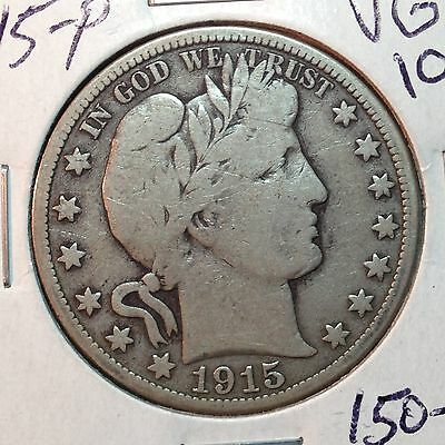 1915-P  VG-Fine   Barber Half Dollar     LITY and top of BER