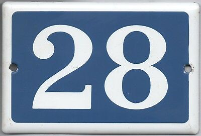 Old blue French house number 28 door gate plate plaque enamel steel metal sign