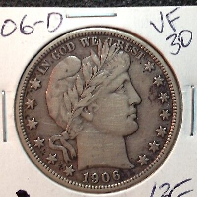 1906-D  VF-XF   Barber Half Dollar  Full Sharp Liberty and Reverse