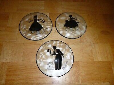 Lot of 3 Vintage Silhouettes Bubble Glass Peter Watson Studios Hand Painted  VGC