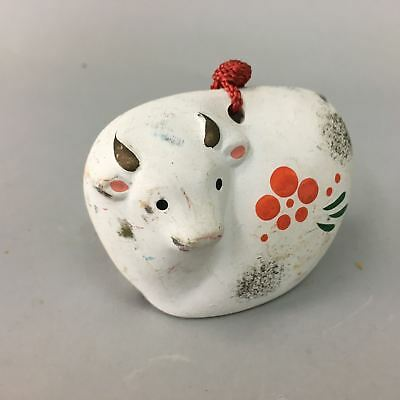 Japanese Clay Bell Dorei Zodiac Cow Vtg Pottery Ceramic White Oriental DR187