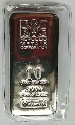 Republic Metals Corporation RMC 10 Troy oz .999+ Fine Silver Bar Sealed Ag Pure