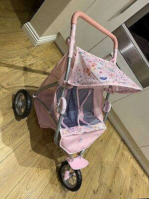 Baby Born 3 Wheel Jogger Double Buggy Pushchair Pram In
