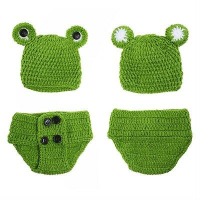 Newborn Baby Girls Crochet Knit Costume Frog Prince Photography Prop Outfits TB