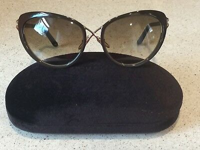 9d45ad7eb9 NEW Tom Ford Daria TF321 Brown Gold Cat Eye 28F Sunglasses Frame 59-18