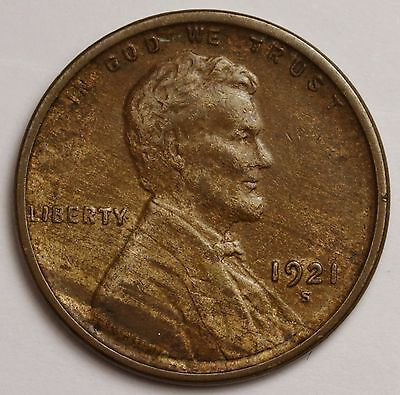 """1921-s Lincoln Head Cent.  Red Brown A.U.  """"Wood Grain"""" """"Marbled"""".  100577"""