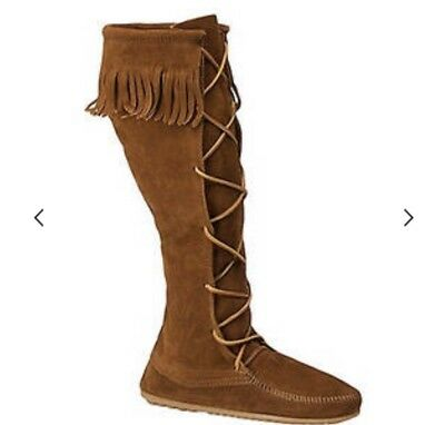 Womens Minnetonka Moccasin  Brown Suede Fringe Lace Front Tall Shaft Boots 6.5