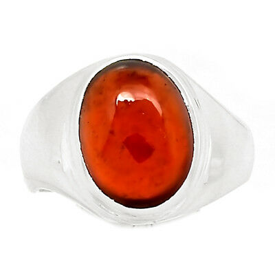 Hessonite Garnet Cab 925 Sterling Silver Ring Jewelry s.8 HGCR64