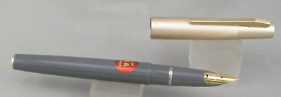 Pilot 2A Grey w/ Satin Gold Cap Fountain Pen - Mint New-Old-Stock - 1970's
